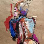 Nue / croquis, sketch, dessin, drawing, kraft paper, colorful, couleur, abstract, abstrait, impressionisme, fusain, pastel, modèle vivant, live model, nude posing, pose nue, art contemporain, nudes, nue, portrait, artwork,